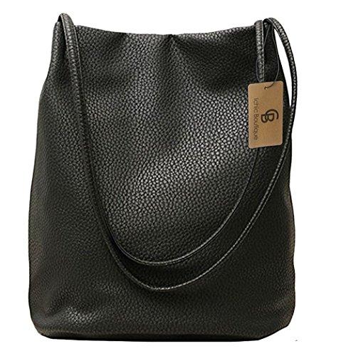 Eimer Tasche Damen Handtasche Leder Schultertasche Umhängetaschen Beutel,Schwarz Leder Taschen Schwarz