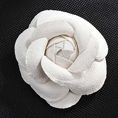 KUAIMAI123 Glamour Geometrie weißes Leder handgefaltete Kamelie Form Nadel Brosche Anstecknadel weibliche Montage Schmuck 6,5 cm * 6,5 cm
