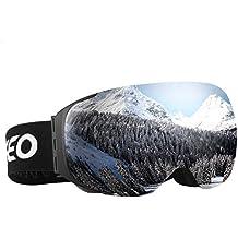 Enkeeo - Gafas de Esquí, de Snowboard (Lente de dual capa Anti-Niebla, 100% UV400 protección, marco doblable, correa antideslizante, 3 capas de espuma resistente al viento) Plateado