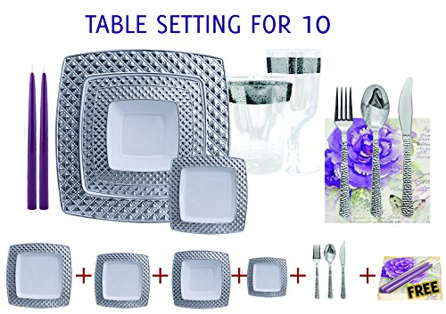 Decorline- SET PER 10 PERSONE TAVOLA- usa e getta- Stoviglie plastica quadrati Deluxe- Color Bianco con bordo in argento - Diamond Collection -contiene :10 Piatti Cena quadrati 24cmx 24cm , 10 Piatti Cena quadrati 20cmx 20cm, 10 pezzi piatto fondo e getta 400 ml, Piatti dessert quadrati 16 x 16 cm -10 pc Bicchiere per vino, 10 pc bicherie di plastica da 300 ml, POSATE USA E GETTA: 20 Coltelli 18 cm , 20 Fourchetta 18 cm , 20 Cucchiaio 17.5 cm , + SET DECORATIVE GRATUITO !!