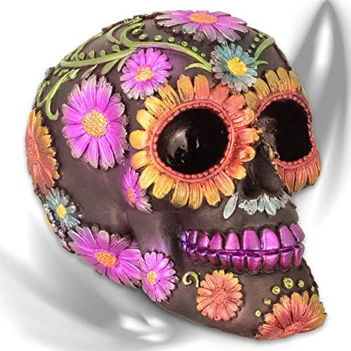 mtb more energy Deko Totenkopf ''Flor de Muertos'' - Tag der Toten - Totenschädel Figur Sugar Skull