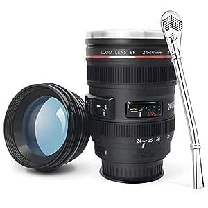 Tasse Verre à café mug avec Sucker, en forme d'objectif photo - Canon EF 24-105mm f / 4L IS USM, Coupe Tumbler avec intérieur en acier inoxydable - cadeau cool