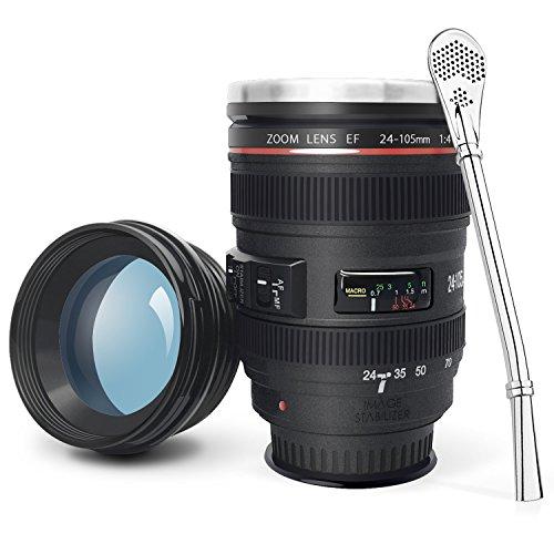 LanChuon Taza de la lente de la cámara con ventosa, taza en forma de objetivo EF24-105mm, estable pero fácil de recoger, el interno es de acero inoxidable y regalo perfecto para un amante de la fotografía