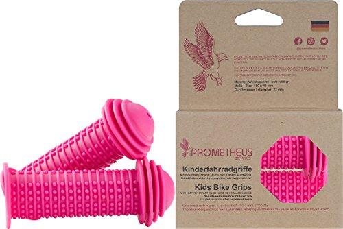 Prometheus Kinderfahrradgriffe 1 Paar in Rosa Pink | mit Sicherheitsende Auch für Laufrad und Roller | 22 mm Lenker-Griffe | Kindersicherheitsgriffe mit Sicherheitsprallkopf | Edition 2019