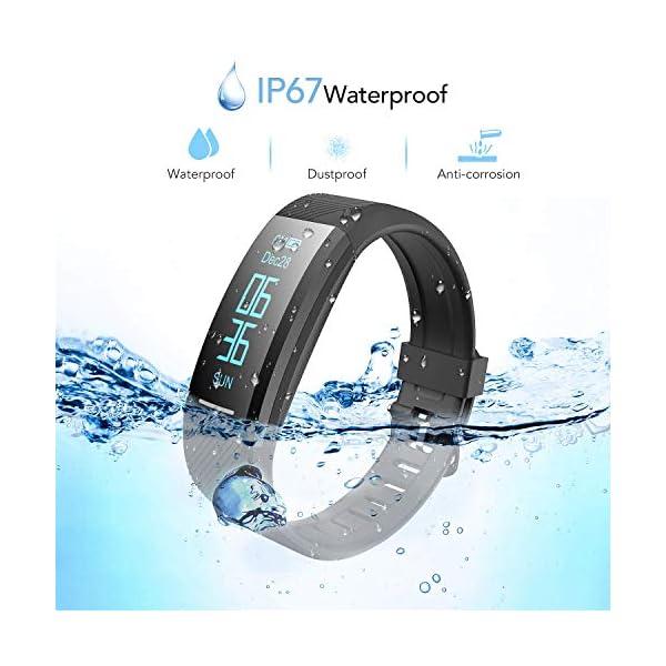 Pulsera de Actividad Inteligente Impermeable IP67, AGPTEK Reloj Deportivo con GPS Podómetro, Monitor de Ritmo, Calorías, Sueño Notificación etc para Hombre Mujer Niños, Negro C11 2