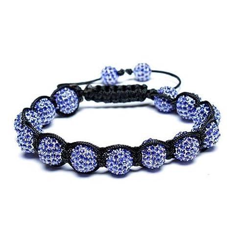 Shamballa Inspired Bracelet Simulated Sapphire Crystal