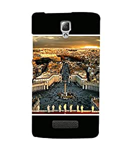 Takkloo city view beautiful view of city,People in the city, white Statues, Cloudy sky) Printed Designer Back Case Cover for Lenovo A2010