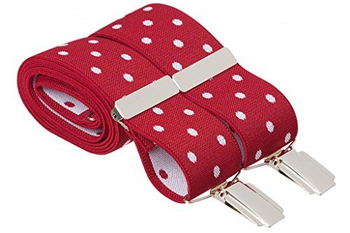 Gents Shop - Tirantes - Lunares - para hombre Rojo Red With White Spots