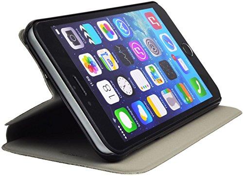 Iphone 6 PLUS Buchtasche Hülle Case Tasche Wallet BookStyle mit STANDFUNKTION Schwarz @ Energmix Weiss