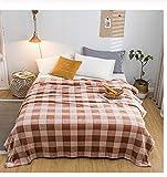 YFQX Flanelldecke Heimtextilien Khaki Square Plaid Europäischer Druck Handwäsche Sofa Schlafzimmer Bett Vier Jahreszeiten Warme Produkte 200x215cm