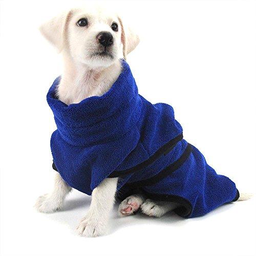 Doublehero Hund Katze Bademantel Schnelltrocknende Verstellbaren Microfaser Bad Tücher Absorbierende Robe Handtuch Mantel Badewanne Robe Handtuch für Hund Katze Haustier (M, Blau)