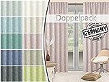 Doppelpack - Vorhang Bretagne mit Gewebtem Blumenmotiv - mit verdeckten Schlaufen und Gardinenband - Blickdicht - Wohndekoration in Elegantem Design - in 10 Modernen Farben - Made in Germany, Rosé