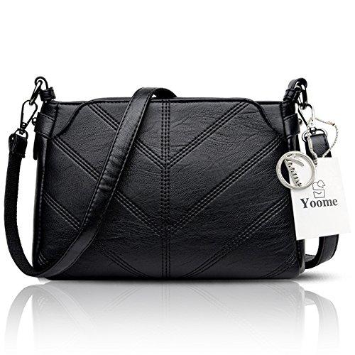 Yoome Retro Multilayer Große Kapazität Soft Womens Umhängetasche Multi Taschen Tasche Crossbody - Grau Schwarz