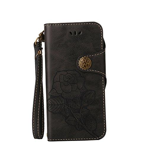 Lederhülle für Sony Xperia Z5 Hülle, ZCRO Leder Handytasche Hülle Retro Style Blumen Muster Wallet Flip Case Handyhülle Geldbörse Etui Vintage Schutzhülle Taschen mit Kartenfach Magnet Strap Lanyard Schale Cover Hüllen für Sony Xperia Z5 (Retro Schwarz)