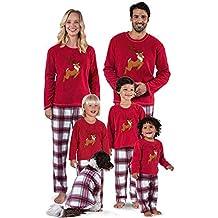 Navidad de BaZhaHei, Ropa de dormir Juego de Navidad de Santa Ciervos Tops Blusa Pantalones