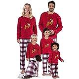 Navidad de BaZhaHei, Ropa de dormir Juego de Navidad de Santa Ciervos Tops Blusa Pantalones Familia Pijamas Conjunto de pijama de casa de tartán con mangas largas y paquete familiar para niña de damas
