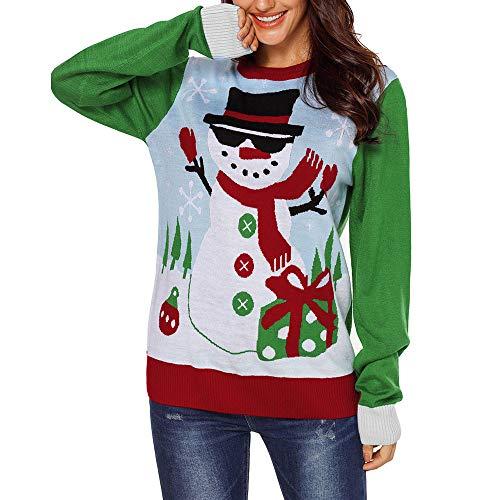 ullover Damen Heißer Frauen Hässliche Weihnachten Schneeflocken Hintergrund Print Langarm Sweatshirts Christmas Oansatz Pullover ()