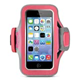 Image of Belkin F8w299 Slim-fit Plus Fitness Armband With Card Pocket And Cord Management For Iphone 5 And Iphone 5s - Pink