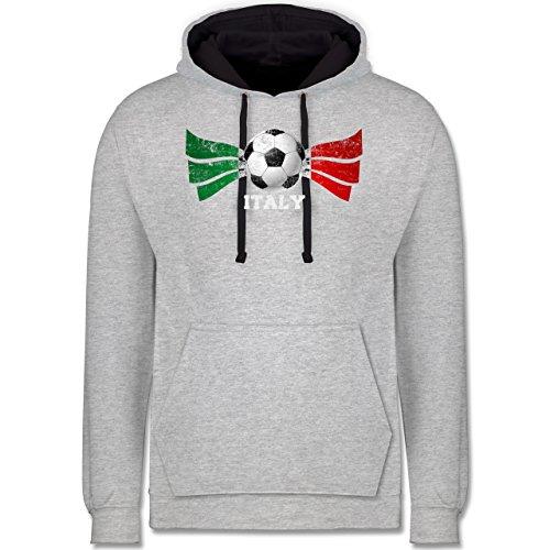 Fußball - Italy Fußball Vintage - Kontrast Hoodie Grau meliert/Dunkelblau