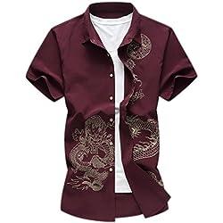 Camisa Business Dragón Impresión Casual Manga Corta Slim Fit Camisa para Hombre Tamaño XL Rojo