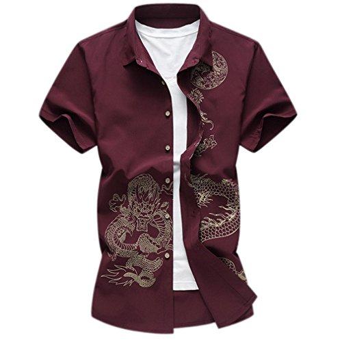 Honghu Business Dragón Impresión Casual Manga Corta Slim Fit Camisa para Hombre Tamaño XL Rojo