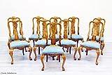 10 Stühle Chippendale Antik Alt Barock Intarsien Sessel Italien