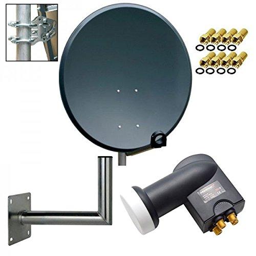 PremiumX Digital SAT Anlage 80 cm Stahl Schüssel Spiegel Antenne Anthrazit + PremiumX Quad LNB PXQS-SE 0,1dB für 4 Teilnehmer + Wandhalter 25cm ALU TÜV-Geprüft + 8 F-Stecker 7mm