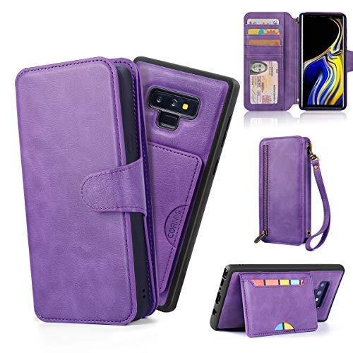 für Samsung Note 9, aus PU-Leder, mit Kartenfächern, Spiegel und Handschlaufe, violett ()