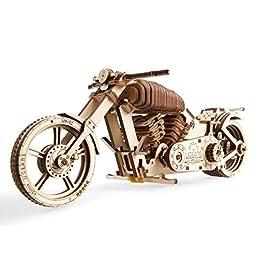 Ugears 70051 Motociclo Fai da Te Tecnico, modellino di Moto di Progetto VM-02 con Motore a Nastro in Gomma, in Legno,, Taglia Unica