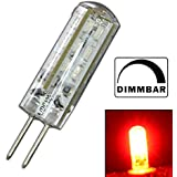 Dimmbare G4 LED mit 1,5 Watt DIMMBAR und 24 SMDs ROT - ROTLICHT 12V DC für Dimmer Halogenförmig Stiftsockel 330° Leuchtmittel Lampensockel Spot Halogenersatz Lampe