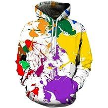 Sudaderas con Capucha Blanca Cool 3D Impresión Colorida Sudadera Hip Garabato Sudaderas Jerseys Chaqueta Unisex Plus