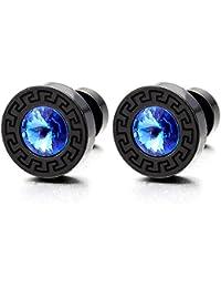 Negro Círculo Pendientes de Hombre Mujer, 5.5MM Azul Circonita, Dominante Griego, Acero Fake Cheater Plugs Gauges