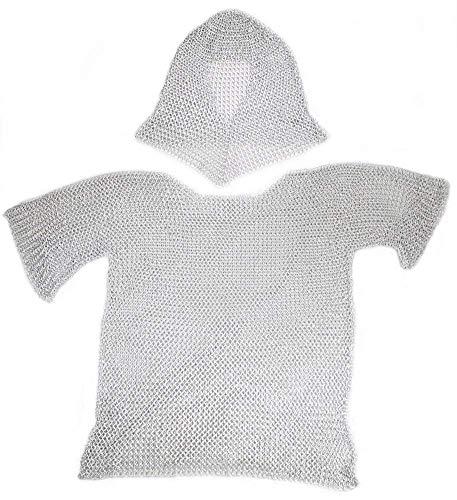 Nasir Ali Aluminium Kettenhemd mit Kapuze: Mittelalterliche Rüstung - Einheitsgröße - Silber