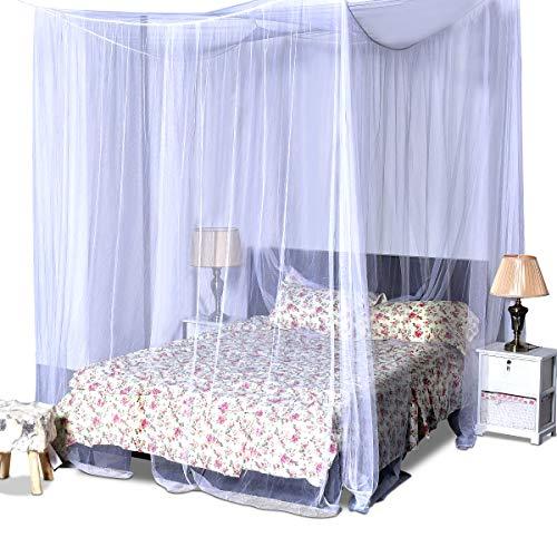 COSTWAY Betthimmel aus Polyester, Moskitonetz Weiß, Mückennetz inkl. Haken, Baldachin für Doppelbett, Bettdekoration hängend 220x200x210cm