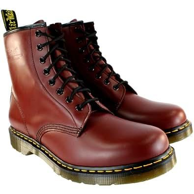 Damen Dr Martens 1460 Classic Schnürsenkel Leder Fußwurzel Armee Stiefels - Rot - 36