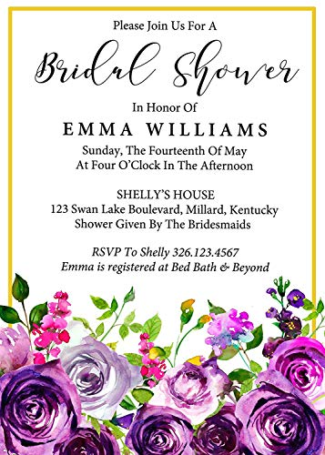 Darling Souvenir Lila Blumen Gewohnheit druckte Brautduschen-Einladungen, Satz von 10 Personalisierte Einladungen mit Umschlägen 5 x 7