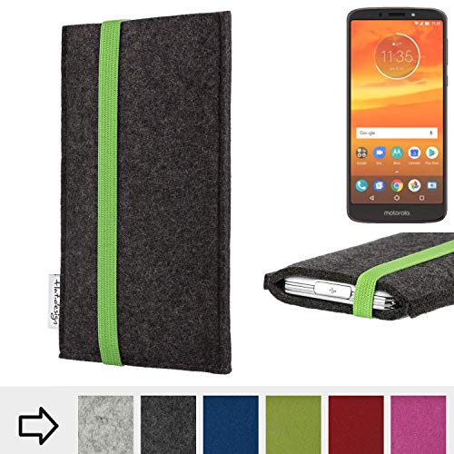 flat.design Handy Hülle Coimbra für Motorola Moto E5 Plus Dual-SIM handgefertigte Handytasche Filz Tasche fair grün dunkelgrau