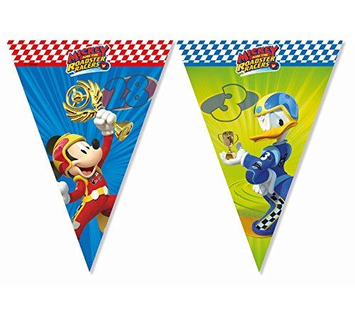 Wimpelkette * MICKEY ROADSTER * von Disney für Kindergeburtstag oder Motto-Party // Party Girlande Flag Banner Motto Mickey Maus Mouse Autos Rennautos Rennen