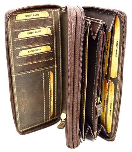 Große Damen Leder Geldbörse in Hunter mit viel Stauraum und Platz für 24 Karten (Große Leder Geldbörse)