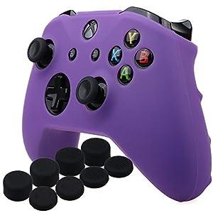 YoRHa Silikon Hülle Abdeckungs Haut Kasten für Microsoft Xbox One X & Xbox One S Controller x 1 (lila) Mit Pro aufsätze thumb grips x 8