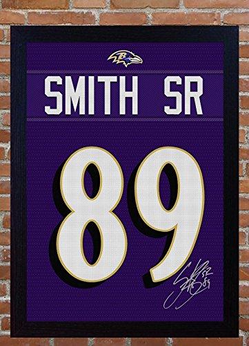 Steve Smith Senior Baltimore Ravens NFL unterzeichnet T-Shirt Leinwand 100% Baumwolle gerahmt