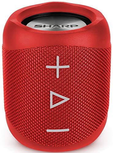 Sharp GX-BT180 (RD) Stereo-Bluetooth-Lautsprecher - kräftiger Bass - hochdynamischer Klangbereich / 10 Stunden Spielzeit /Staub-Spritzwassergeschütz/ Mikrofon für Telefonate, Google & Siri - Rot Sharp Stereo