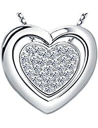 BeyDoDo Plata de Ley Collar de Mujer Colgante Collar de Mujer Colgante Corazón Color Blanco Collar Para Mujer