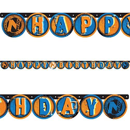 Partykette * NERF * für Mottoparty und Kindergeburtstag | Buchstaben Banner Deko Dekoration Hasbro Nitro Blaster N-Strike Elite Kinder Kindergeburtstag Geburtstag Girlande Happy Birthday
