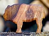 Büffel geschnitzt Holz Tier Dekoration Krippe Massiv Figur Handarbeit Bauerntier Wald