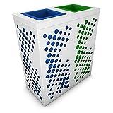 poubelledirect Mülleimer Mülltrennung 2Becken 90Liter, Korpus: Weiß, 2Körbe Bunte für Recycling: Blau, Grün–Jupiter 3x 90/100L