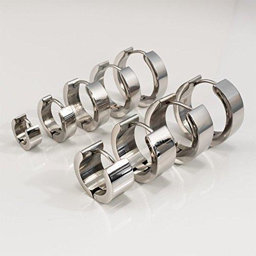 Fly Style® 1 Paar - 7mm breite Edelstahl Klapp-Creolen von 14 bis 20mm Durchmesser | Silber, Gold oder Schwarz, Farbwahl:silber poliert, Durchmesser:18 mm