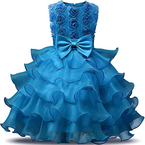 Chengzuoqing Prinzessin Kleider Baby Mädchen Prinzessin Brautkleider Taufe Baby Kleid Trikot Tutu Rock Tiered Princess Dress Kleine Mädchen Kostüm (Color : Dark Blue, Size : 100 cm)