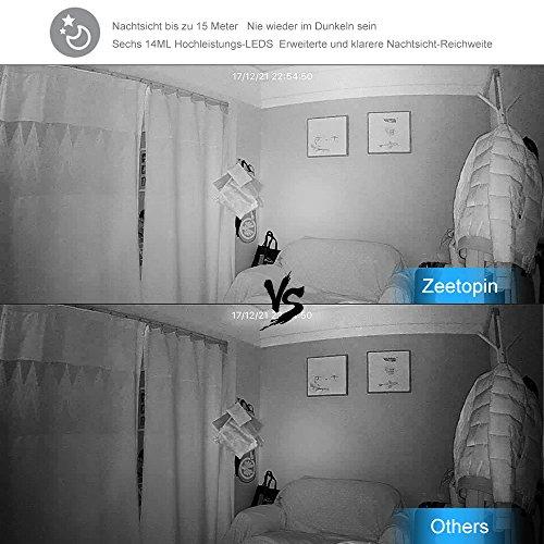 Wireless WiFi Kamera,Zeetopin 1080P HD IP Überwachungskamera, Sicherheit Überwachungssystem mit Bewegungserkennung,Zwei-Wege-Audio,Cloud Storage,Ideal als Baby Monitor, Haustier Kamera Schwarz
