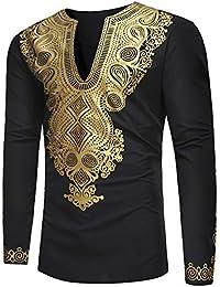 GreatestPAK Herren Männer Dashiki Tops Afrikanischen Ethnischen Stil Gold  Print Shirt Langarm Bluse e6d5625a0c
